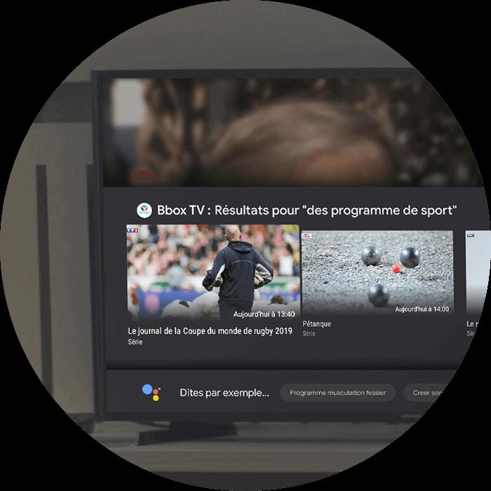 Image de la troisième étape, la télévision connectée vous affiche des résultats pour «des programmes de sport - Bouygues Telecom