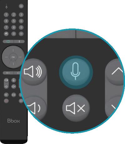Image de la première étape, appuyez sur la touche représentant un microsur la télécommande de votre Bbox | Bouygues Telecom