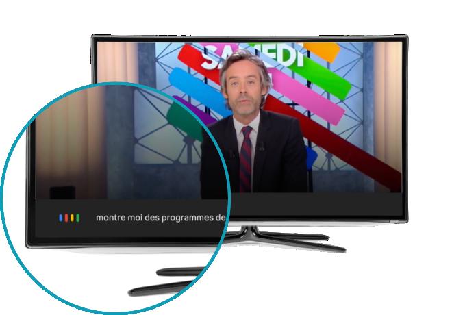 Image de la deuxième étape, la requête «montre-moi des programmes de sports'affiche en bas de l'écran de la télévision connectée | Bouygues Telecom