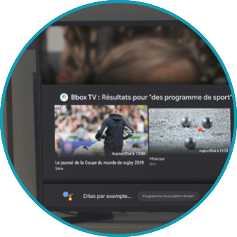 Image de la troisième étape, la télévision connectée vous affiche des résultats pour «des programmes de sport | Bouygues Telecom