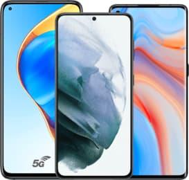 3 smartphones couleurs de face écran allumé