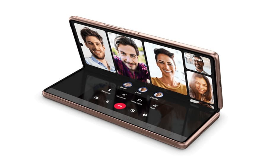 samsung galaxy z fold2 ouvert appel visio visages