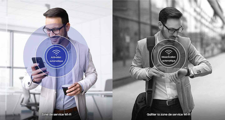 Un homme dans deux situations est représenté, il entre dans une zone Wi-fi et en ressort, un icone indique que le Wi-fi s'active et se désactive automatiquement