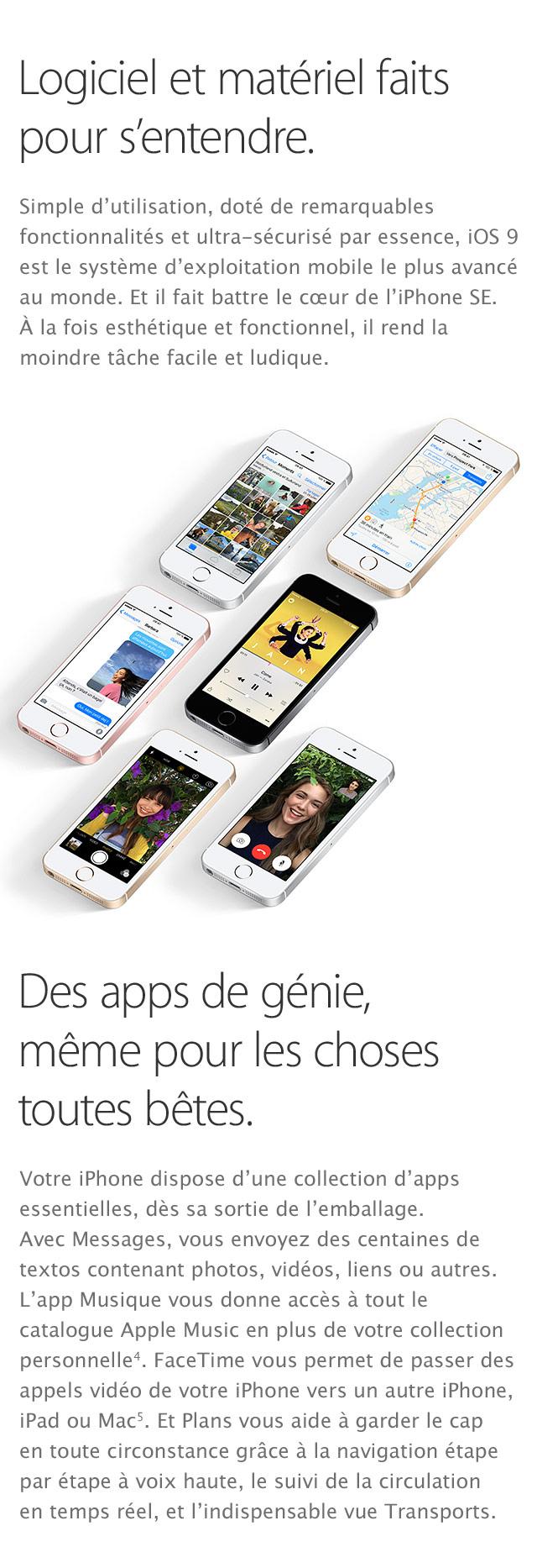 iPhone SE Logiciels materiels