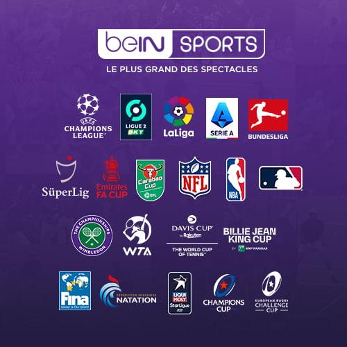 affiche bein sport avec logos des championnats