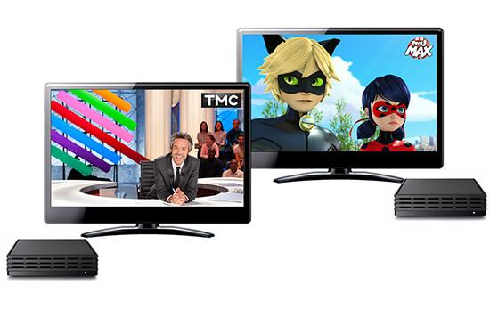 2 televiseurs connetes a la box