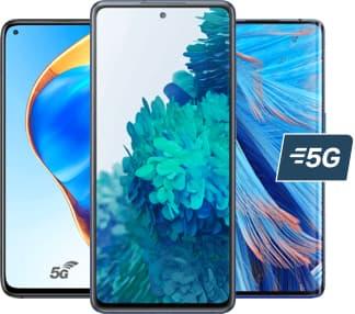 3 smartphones écran de face et 5g