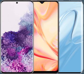 trois smartphones vue face