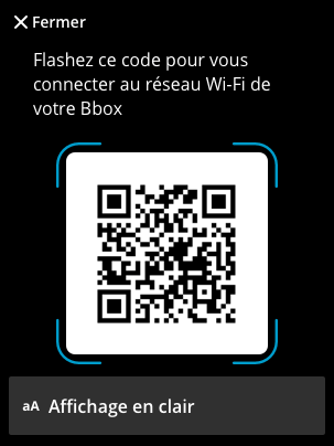 Interface QR Code Routeur Wi-Fi 6  – Bouygues Telecom