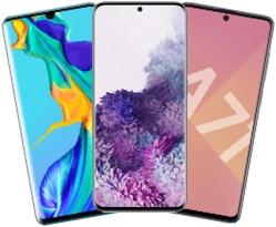 3 smartphones couleurs de face